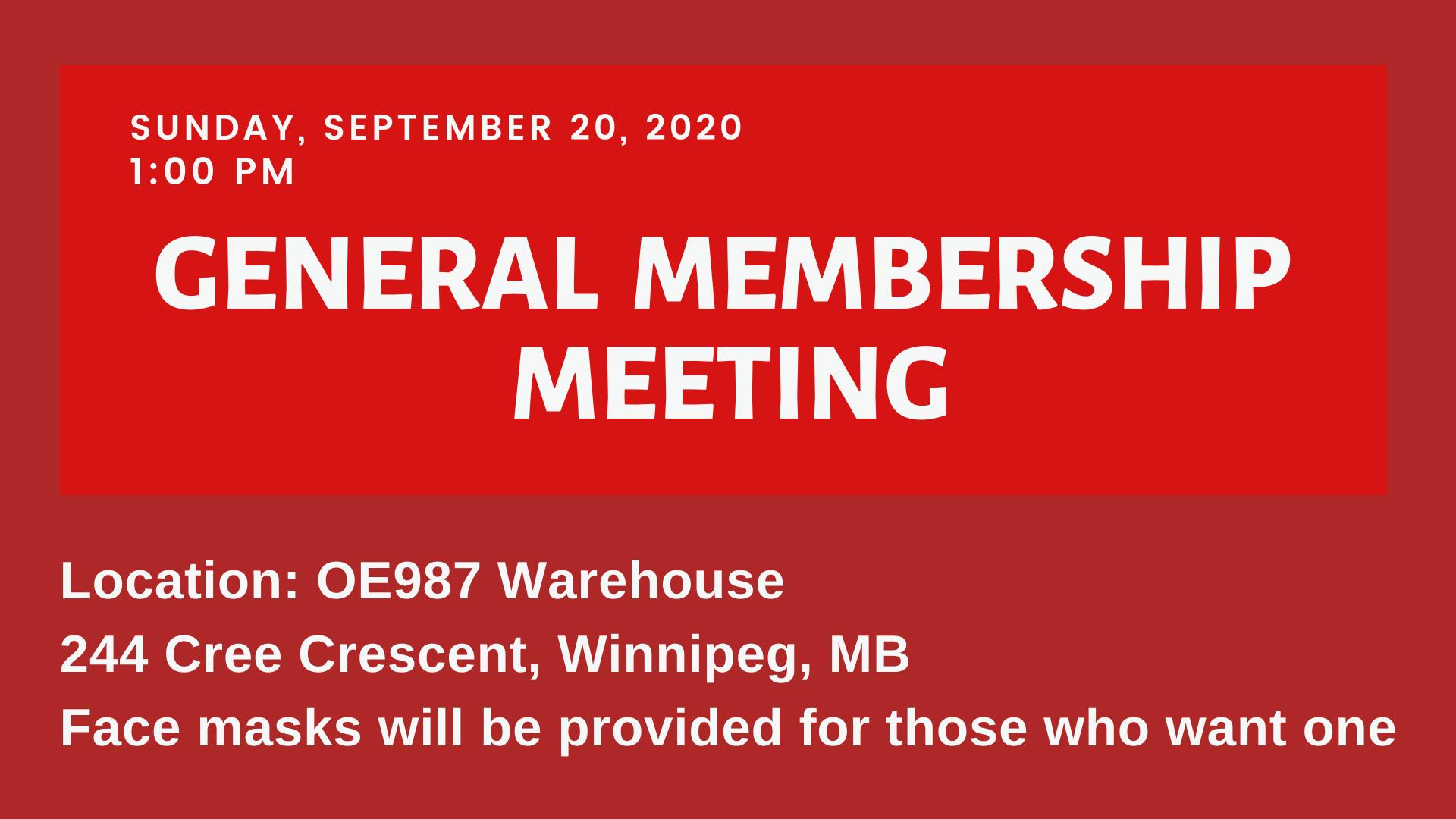 Image for General Membership Meeting – Sunday, September 20, 2020
