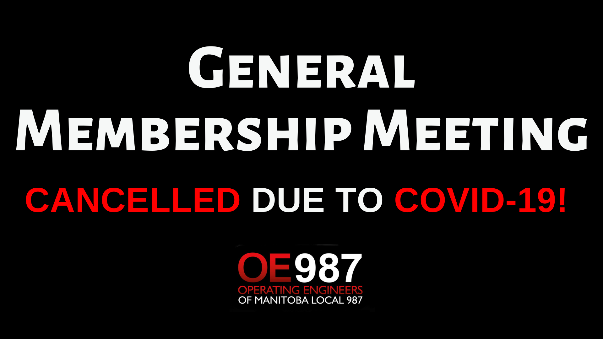 Image for General Membership Meeting – Cancelled