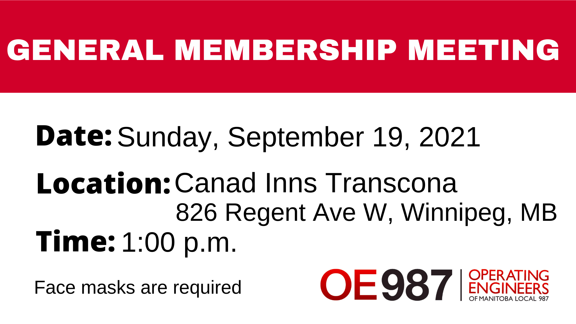 Image for General Membership Meeting – Sunday, September 19, 2021