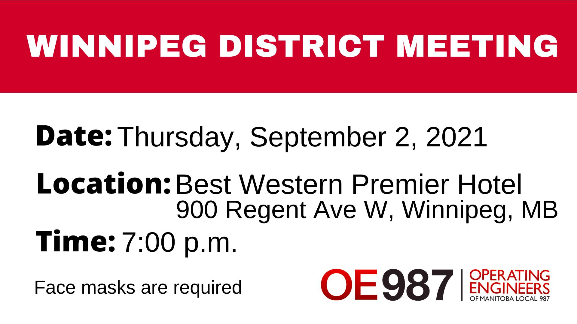 Image for OE987 Winnipeg District Meeting – Thursday, September 2, 2021